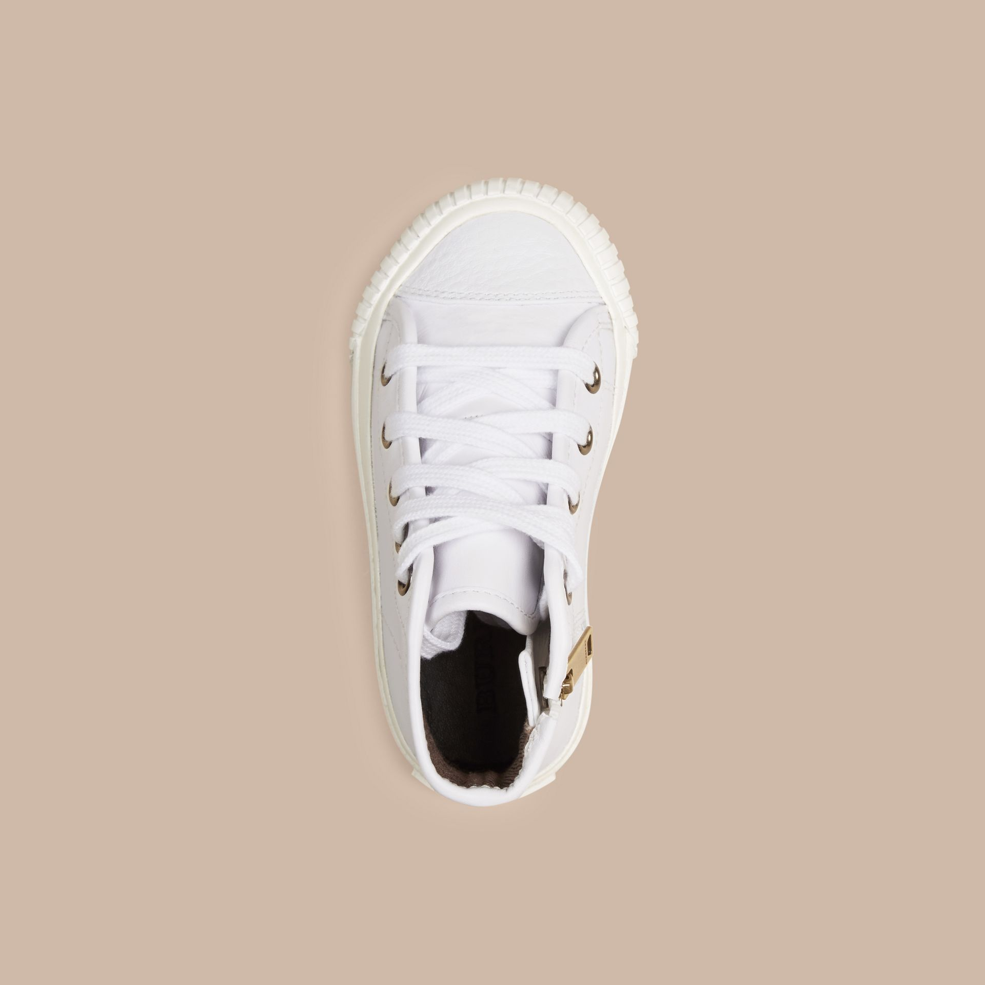 White Leather High-Top Trainers - gallery image 2