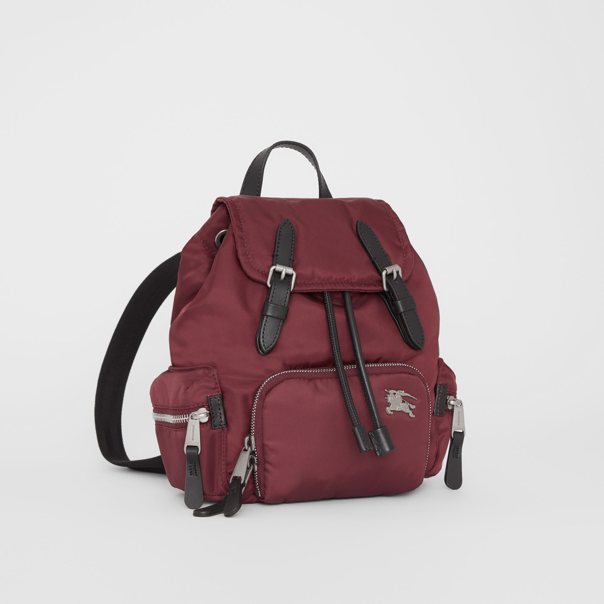 The Small Crossbody Rucksack in Puffer Nylon in Burgundy Red - Women | Burberry - gallery image 7