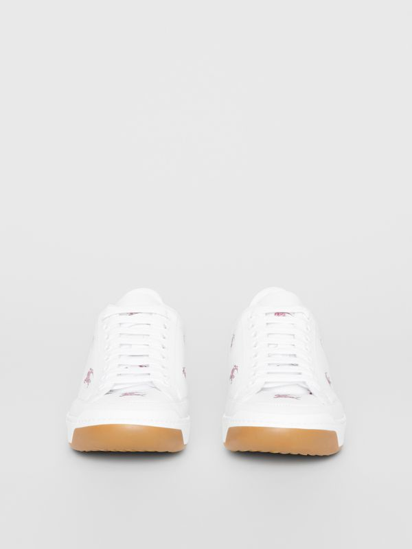 EKD Leather Sneakers in Antique Ruby - Women | Burberry - cell image 3