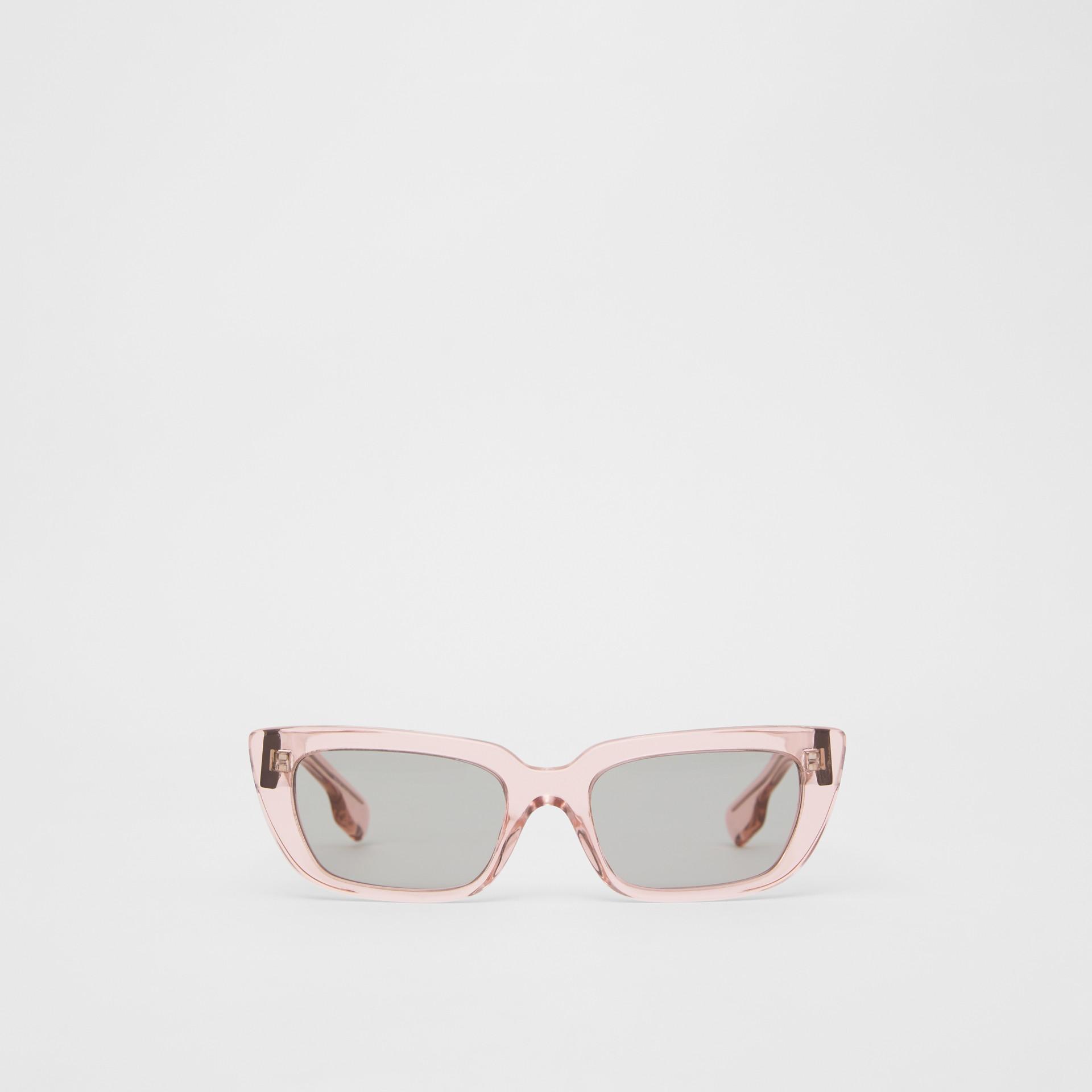 Bio-acetate Rectangular Frame Sunglasses in Light Pink - Women | Burberry - gallery image 0
