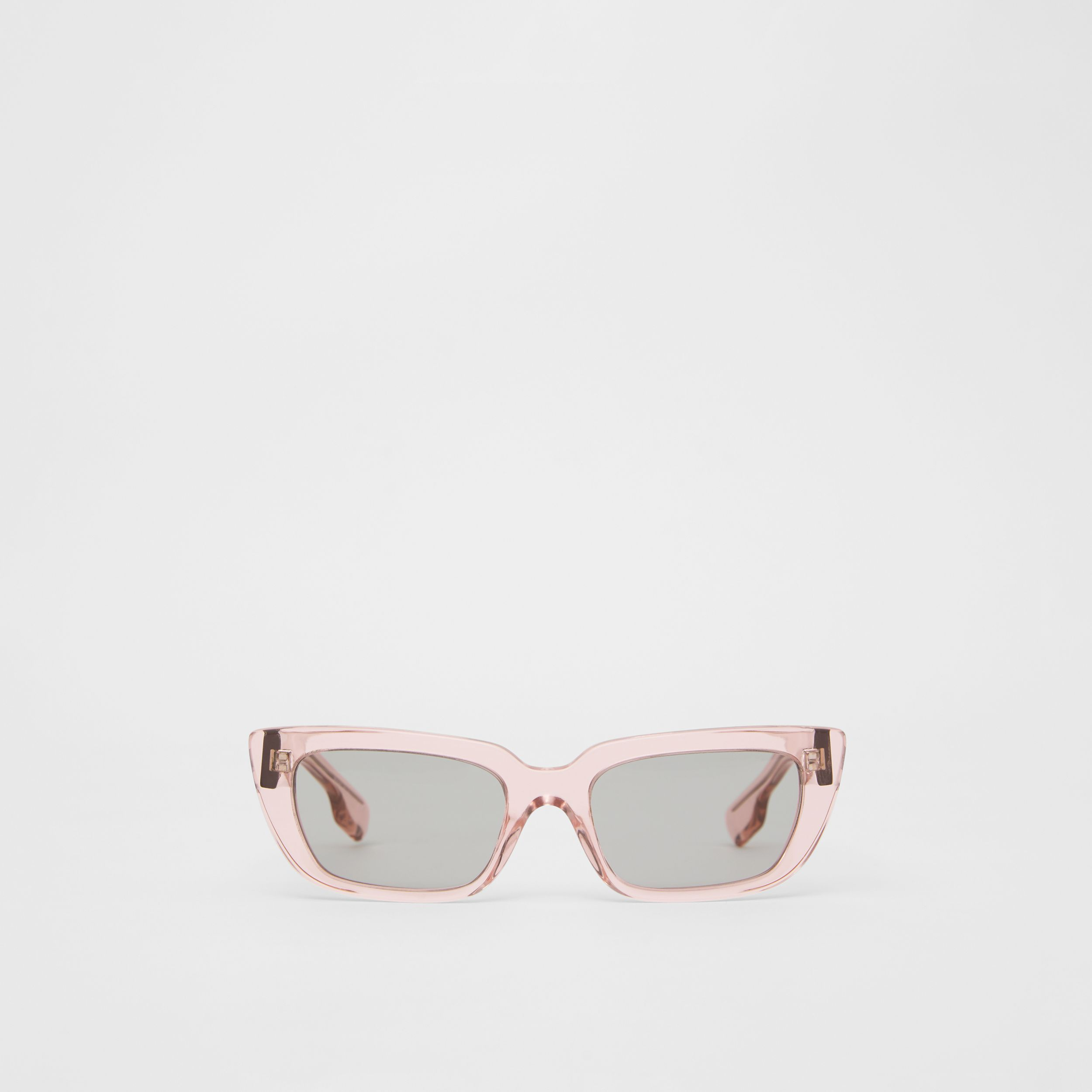 Bio-acetate Rectangular Frame Sunglasses in Light Pink - Women | Burberry - 1