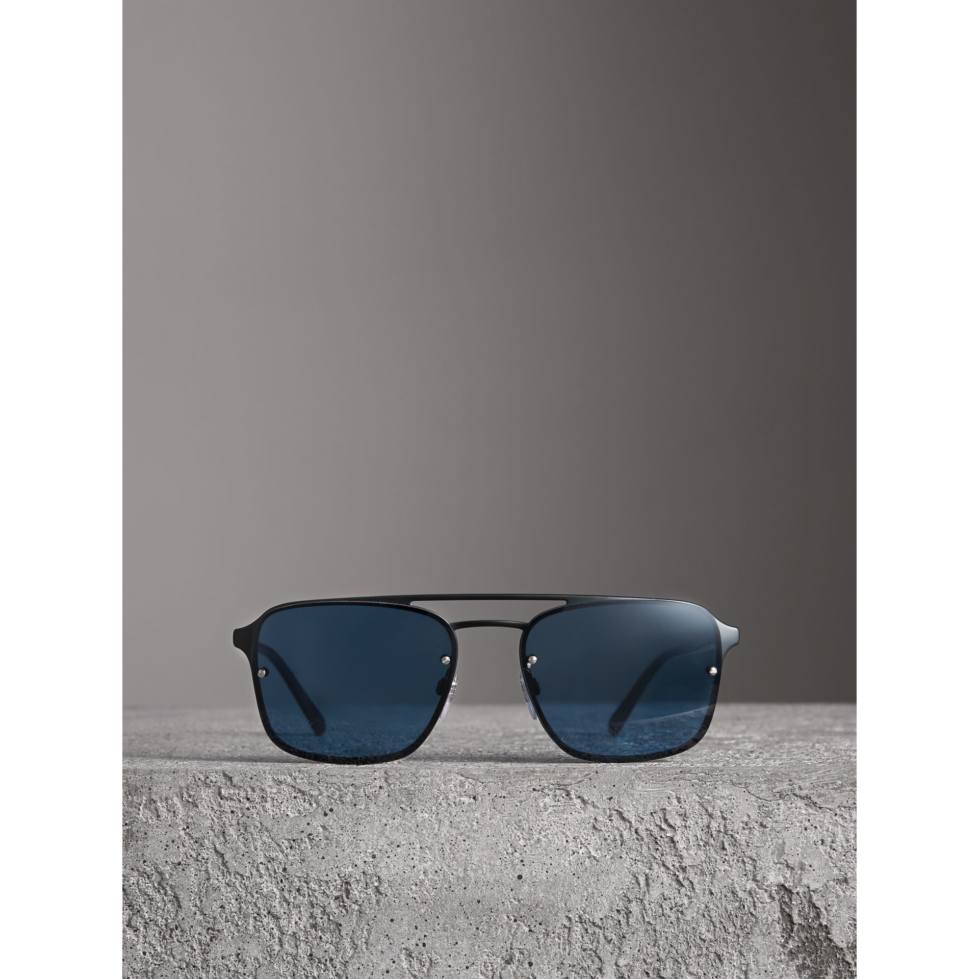 Square Frame Metal Sunglasses in Black/blue - Men | Burberry - gallery image 3