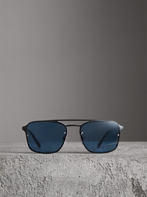 Square Frame Metal Sunglasses in Black/blue - Men | Burberry - cell image 3
