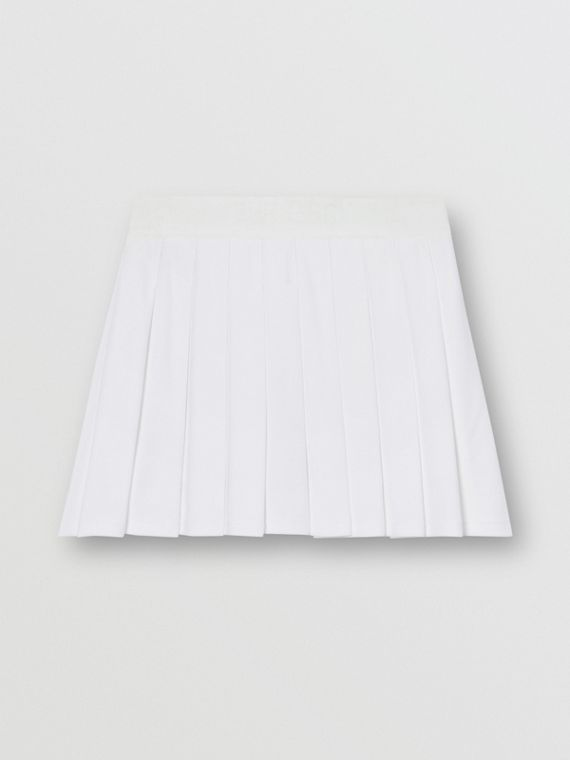 Pleated Jersey Tennis Skirt in White