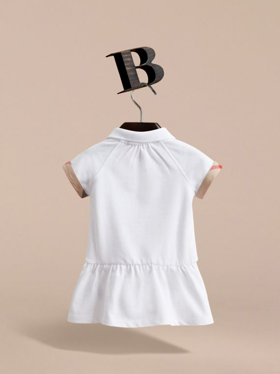 Check Detail Stretch Cotton Piqué Dress in White | Burberry United Kingdom - cell image 3