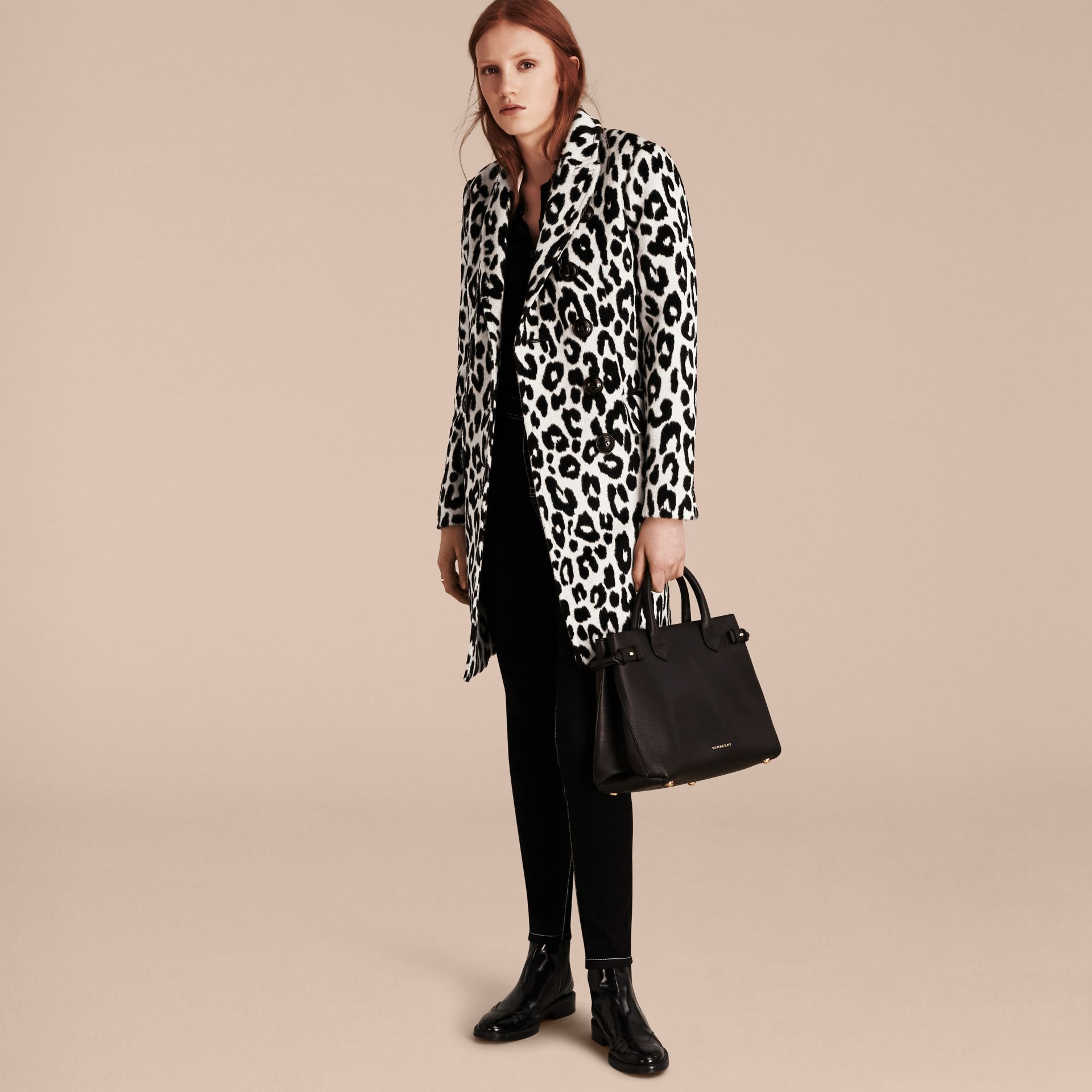 Black/white Leopard Jacquard Lama Wool Coat - gallery image 7