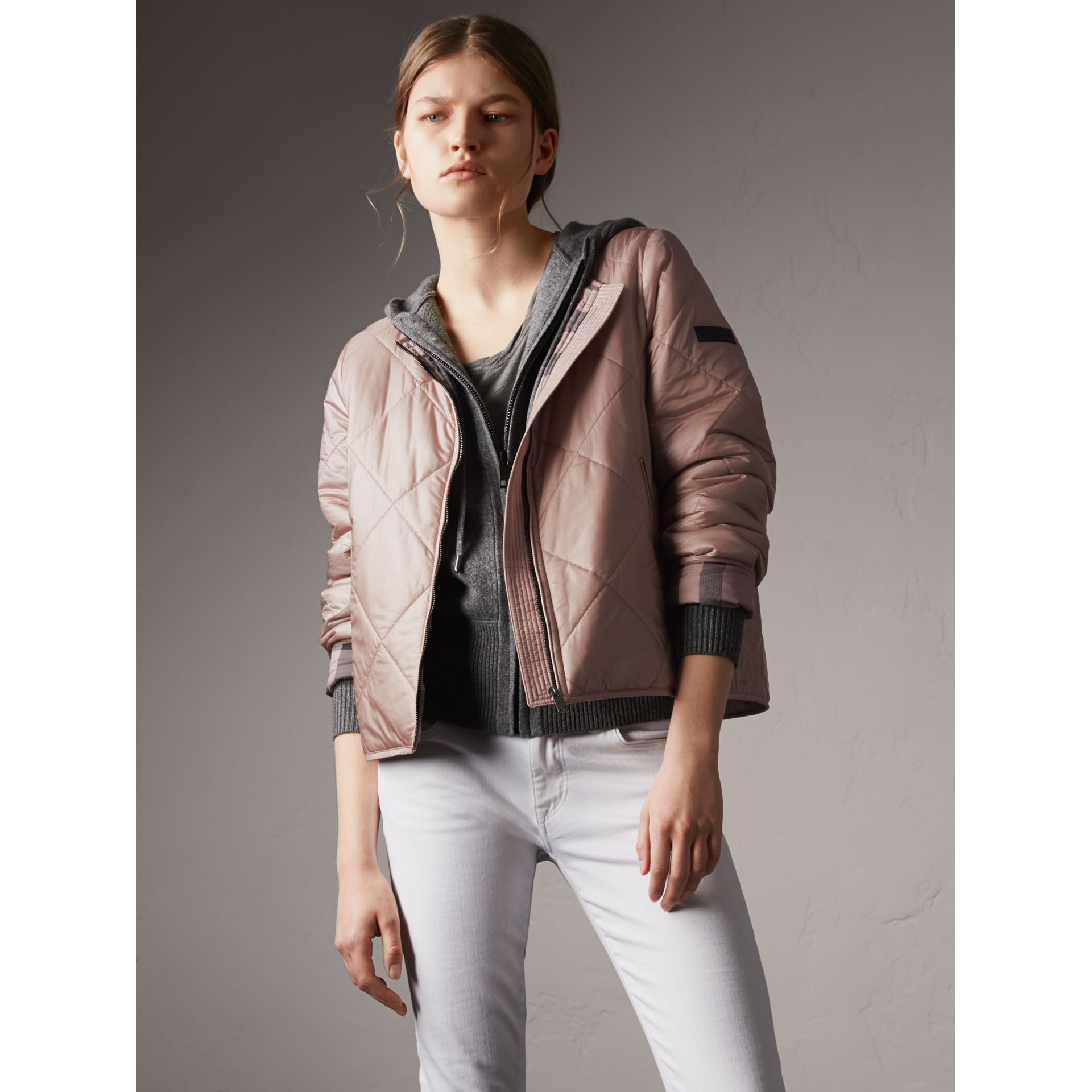 Collarless Diamond Quilted Lightweight Jacket in Nude - Women | Burberry - gallery image 6