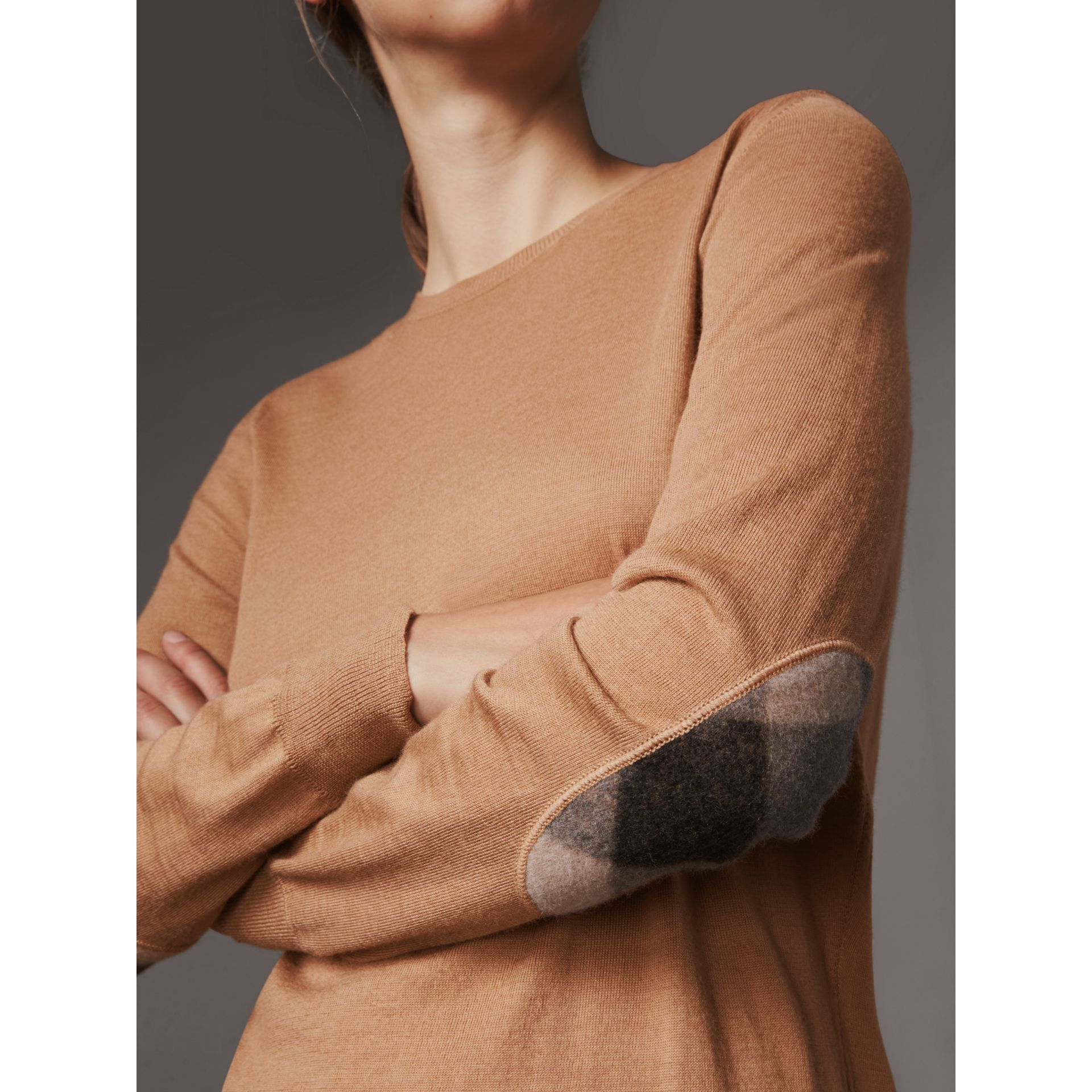 Check Detail Merino Wool Sweater in Camel - Women | Burberry - gallery image 1