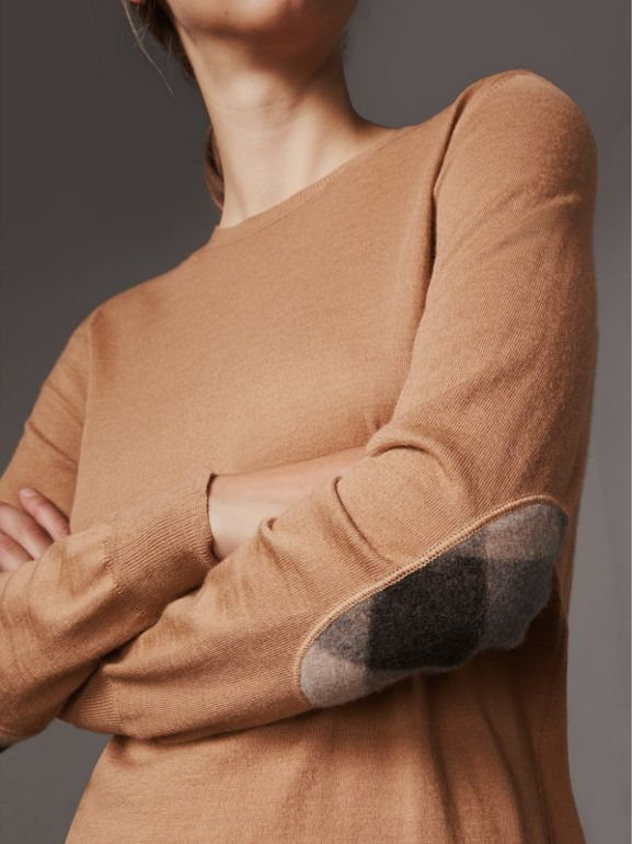Check Detail Merino Wool Sweater in Camel - Women | Burberry - cell image 1