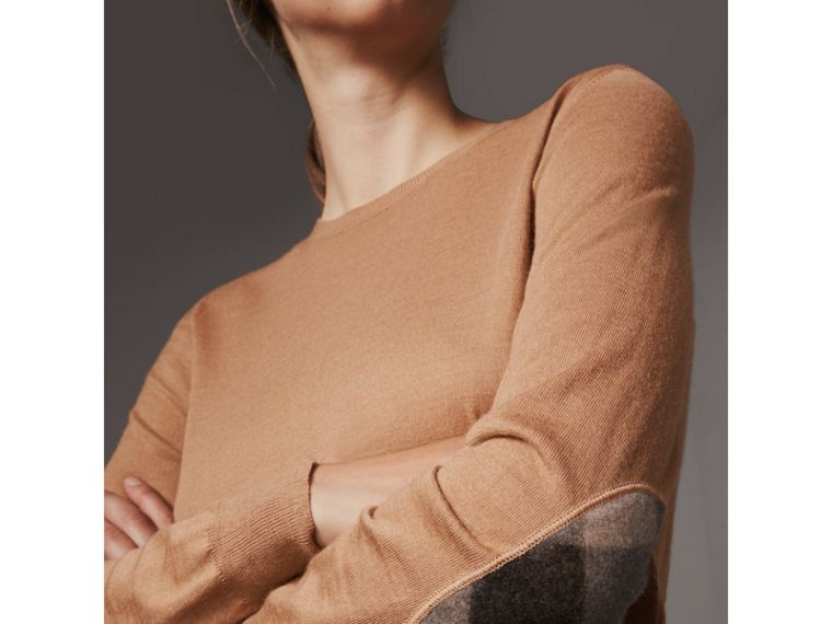 Check Detail Merino Wool Sweater in Camel - Women | Burberry Singapore - cell image 1