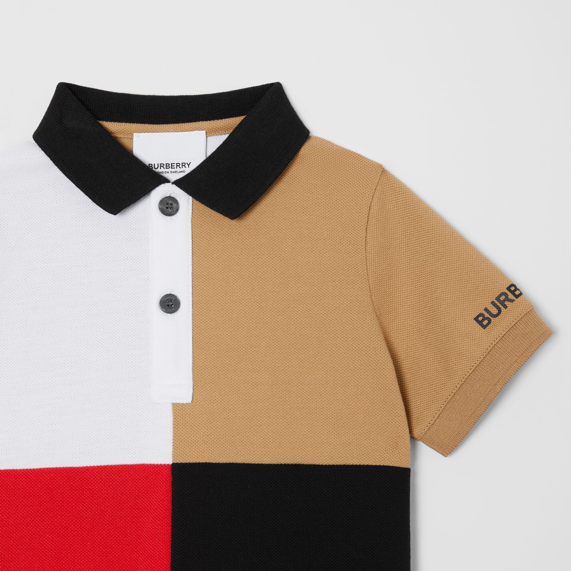 Colour Block Knit Cotton Polo Shirt in Archive Beige - Children | Burberry Hong Kong S.A.R - gallery image 4