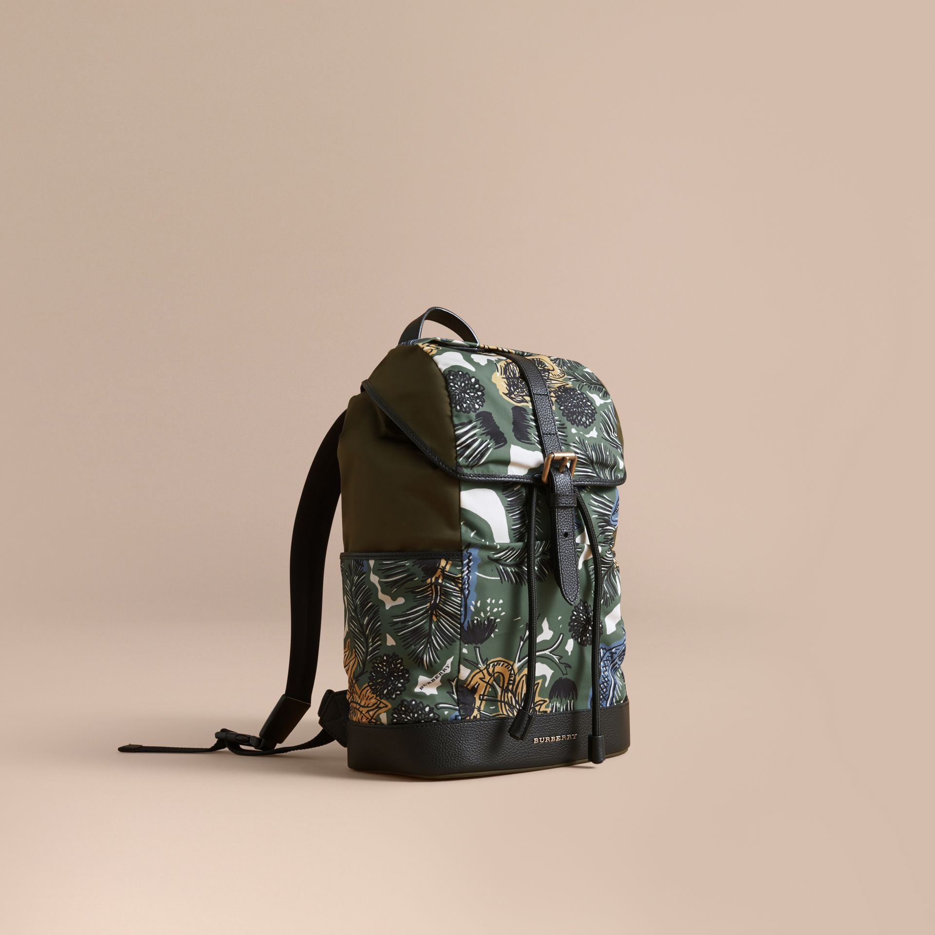 Leather Trim Lightweight Backpack in Sage Green | Burberry - gallery image 1