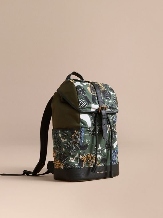 Leather Trim Lightweight Backpack in Sage Green