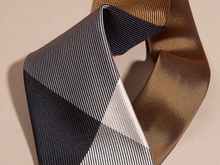 棕赭石色 現代剪裁格紋提花絲質領帶 棕赭石色 - cell image 1