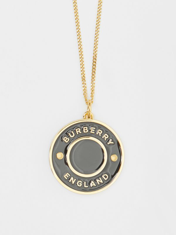 Logo Medallion Gold-plated Chain Necklace in Light Gold/enamel - Women | Burberry - cell image 3