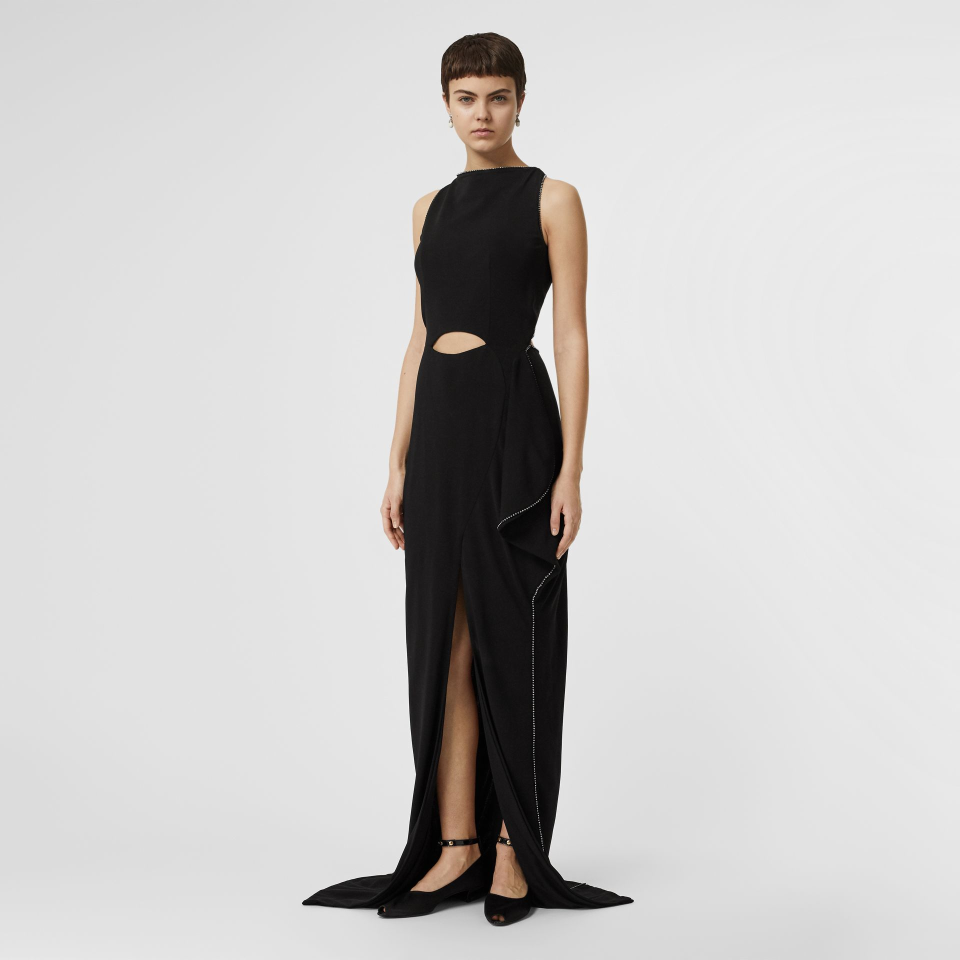Crystal Detail Cut-out Stretch Jersey Gown in Black - Women | Burberry - gallery image 0