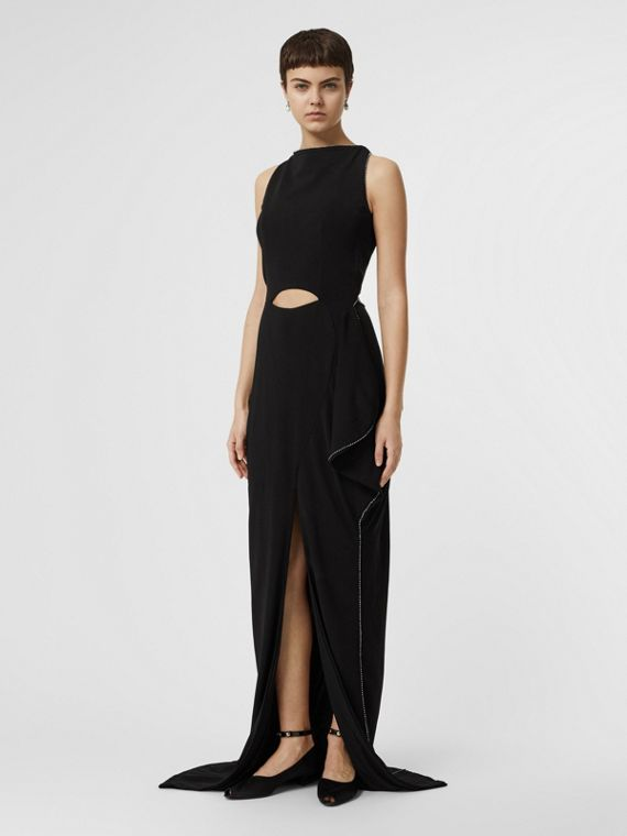 Crystal Detail Cut-out Stretch Jersey Gown in Black
