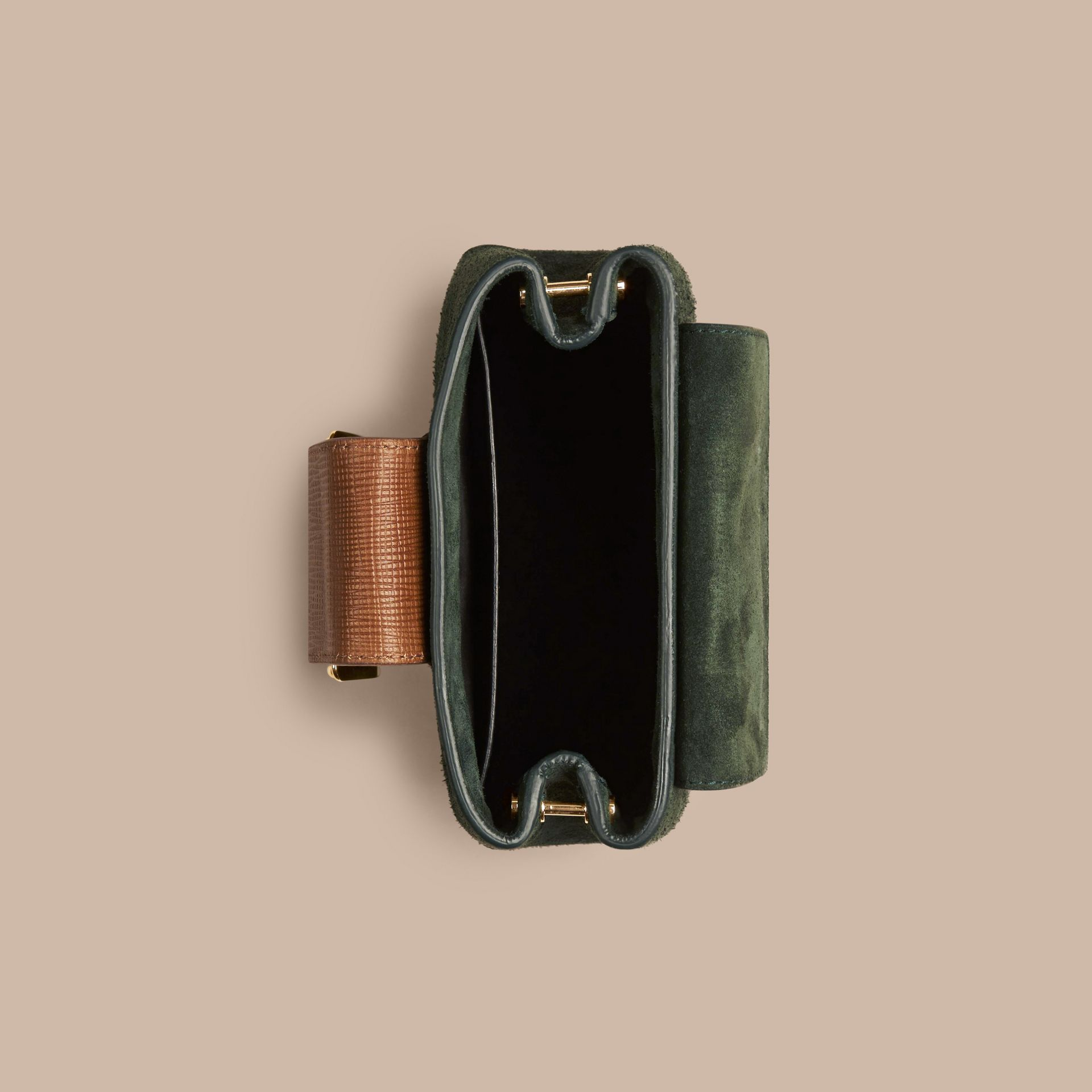Dark forest green The Small Square Buckle Bag in Suede and Leather Dark Forest Green - gallery image 5