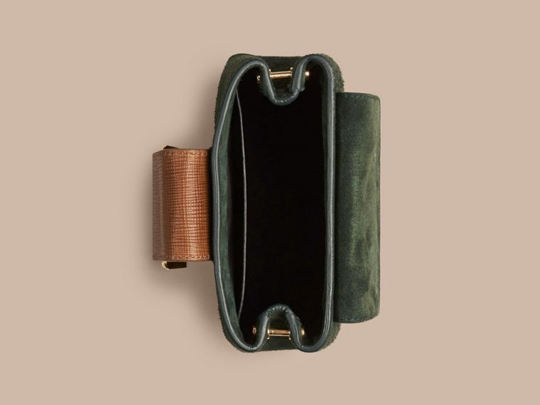 Dark forest green The Small Square Buckle Bag in Suede and Leather Dark Forest Green - cell image 4