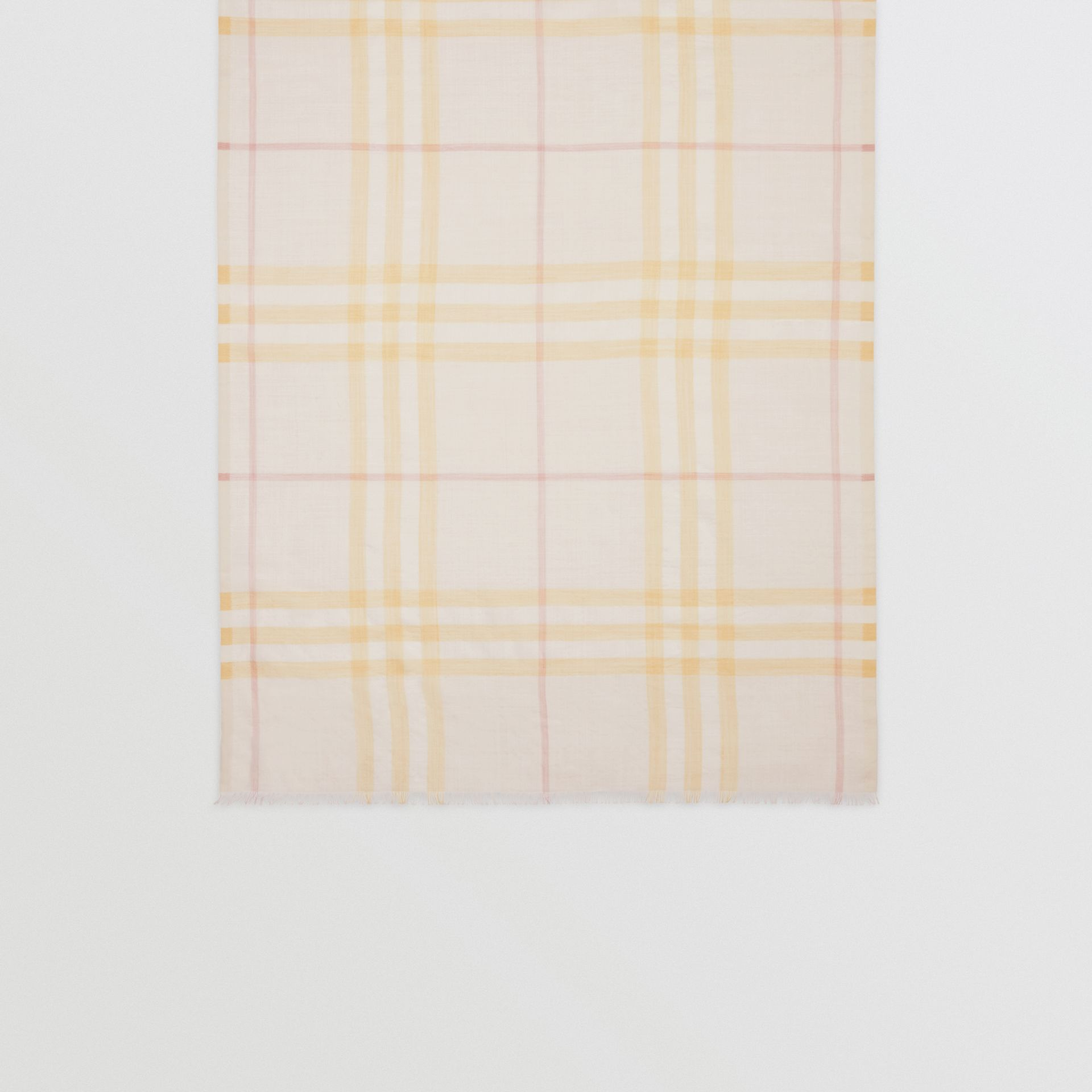 Lightweight Check Wool and Silk Scarf in Primrose | Burberry - gallery image 3