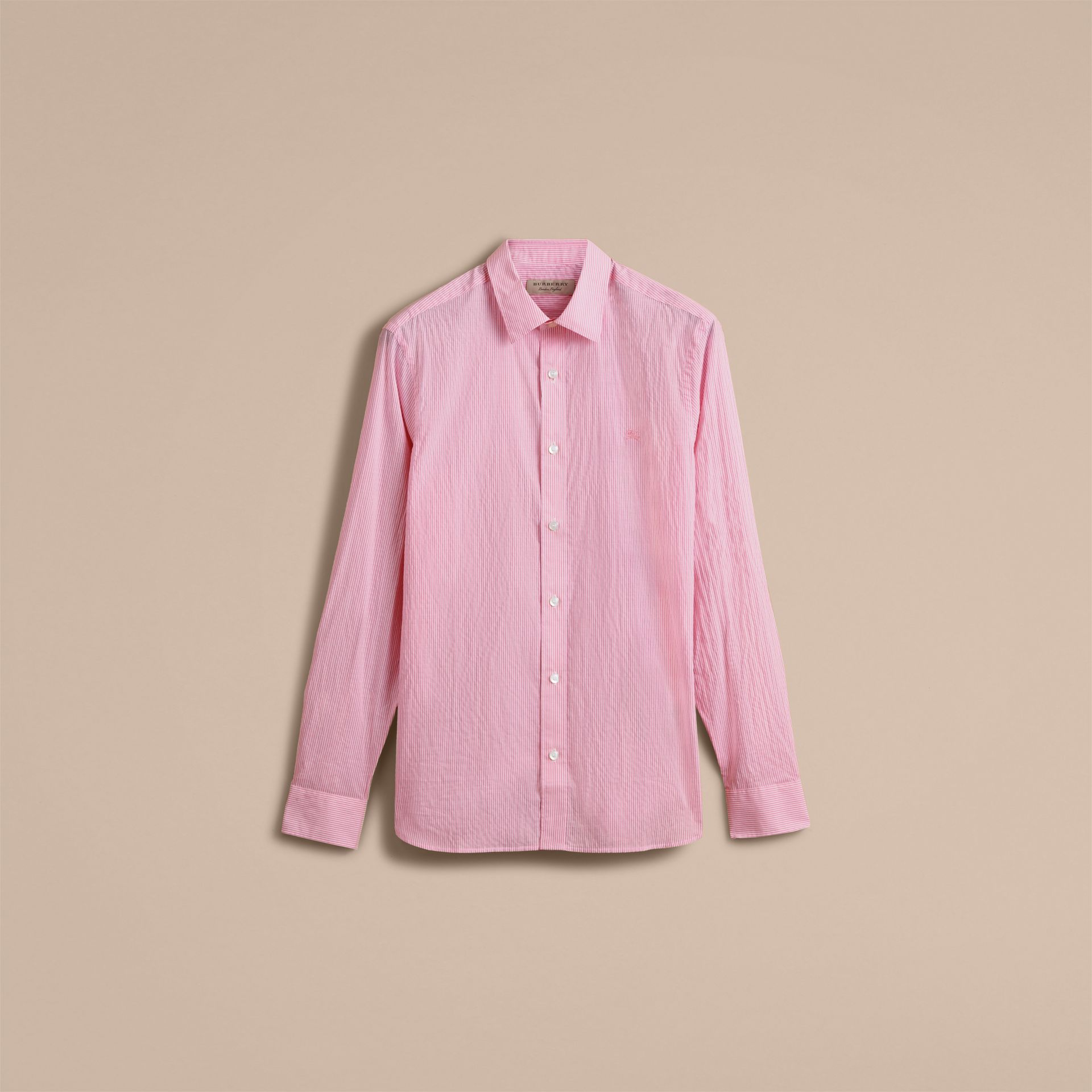 Striped Cotton Blend Shirt in Pale Pink - Men | Burberry - gallery image 4