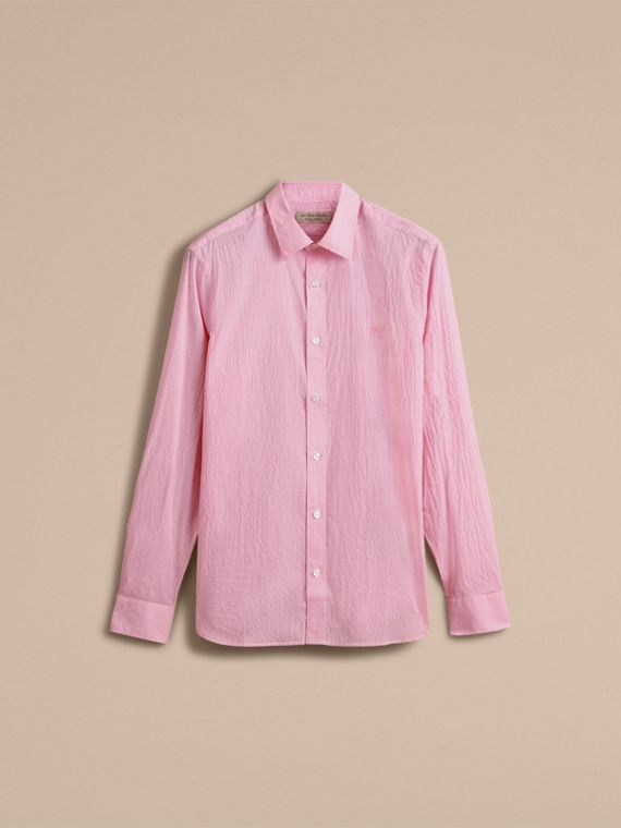 Striped Cotton Blend Shirt in Pale Pink - Men | Burberry - cell image 3