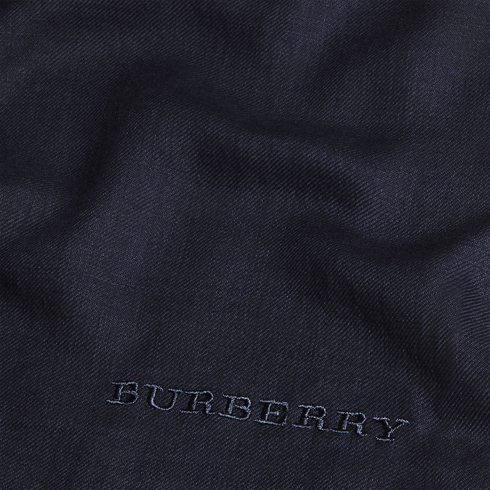 The Lightweight Cashmere Scarf in Navy - gallery image 5