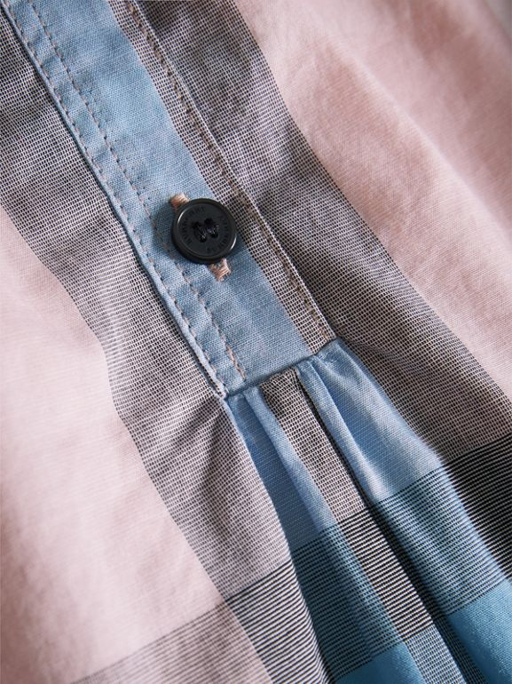 Gathered Check Cotton Shirt in Ice Pink - Children | Burberry - cell image 1
