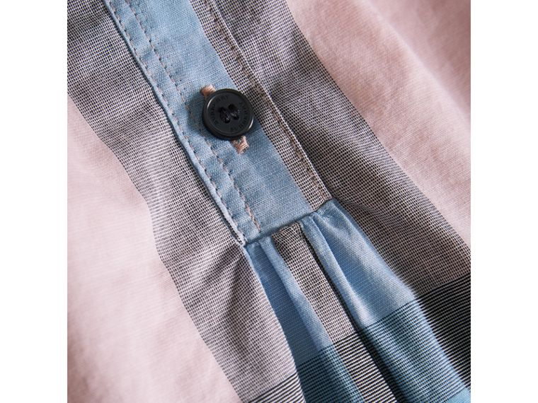 Gathered Check Cotton Shirt in Ice Pink - Girl | Burberry - cell image 1