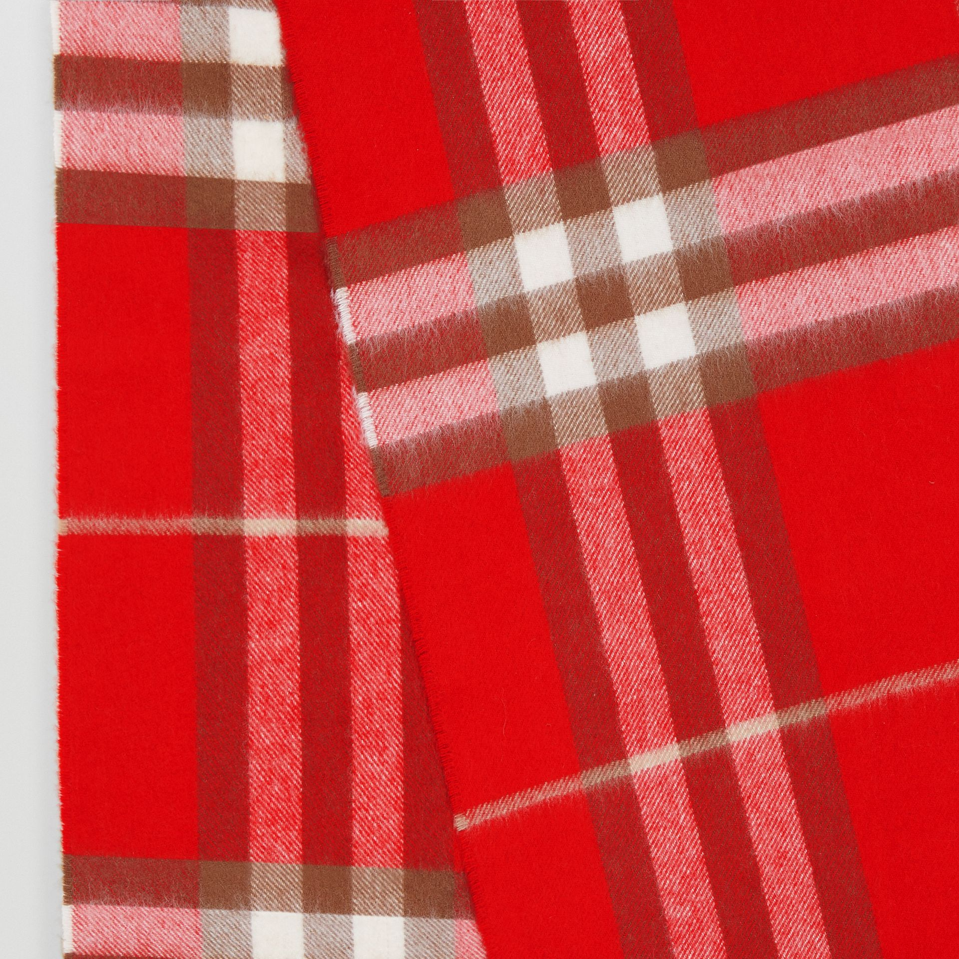 The Classic Check Cashmere Scarf in Red | Burberry - gallery image 8
