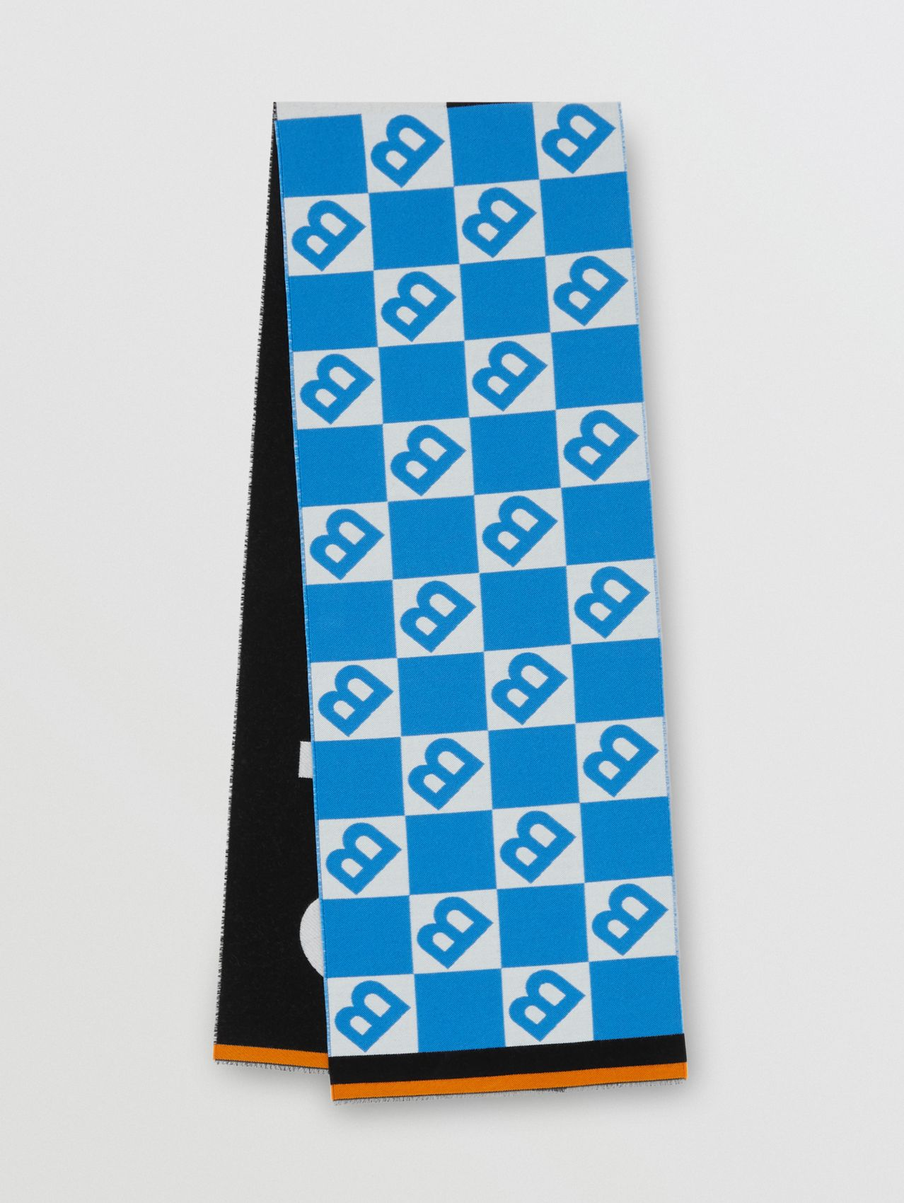Contrast Logo Graphic Wool Silk Jacquard Scarf in Azure Blue