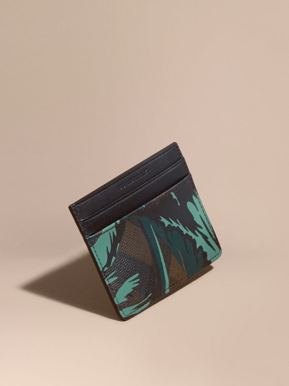 Floral Print London Check Card Case