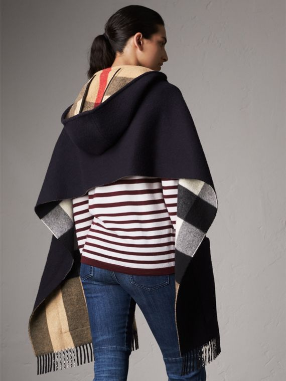Check-lined Wool Cashmere Hooded Stole in Navy/camel - Women | Burberry - cell image 2