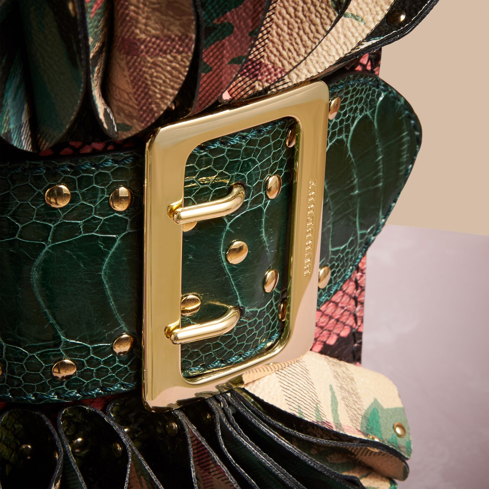 The Ruffle Buckle Bag in Snakeskin, Ostrich and Check in Rose Pink - Women | Burberry Canada - gallery image 2