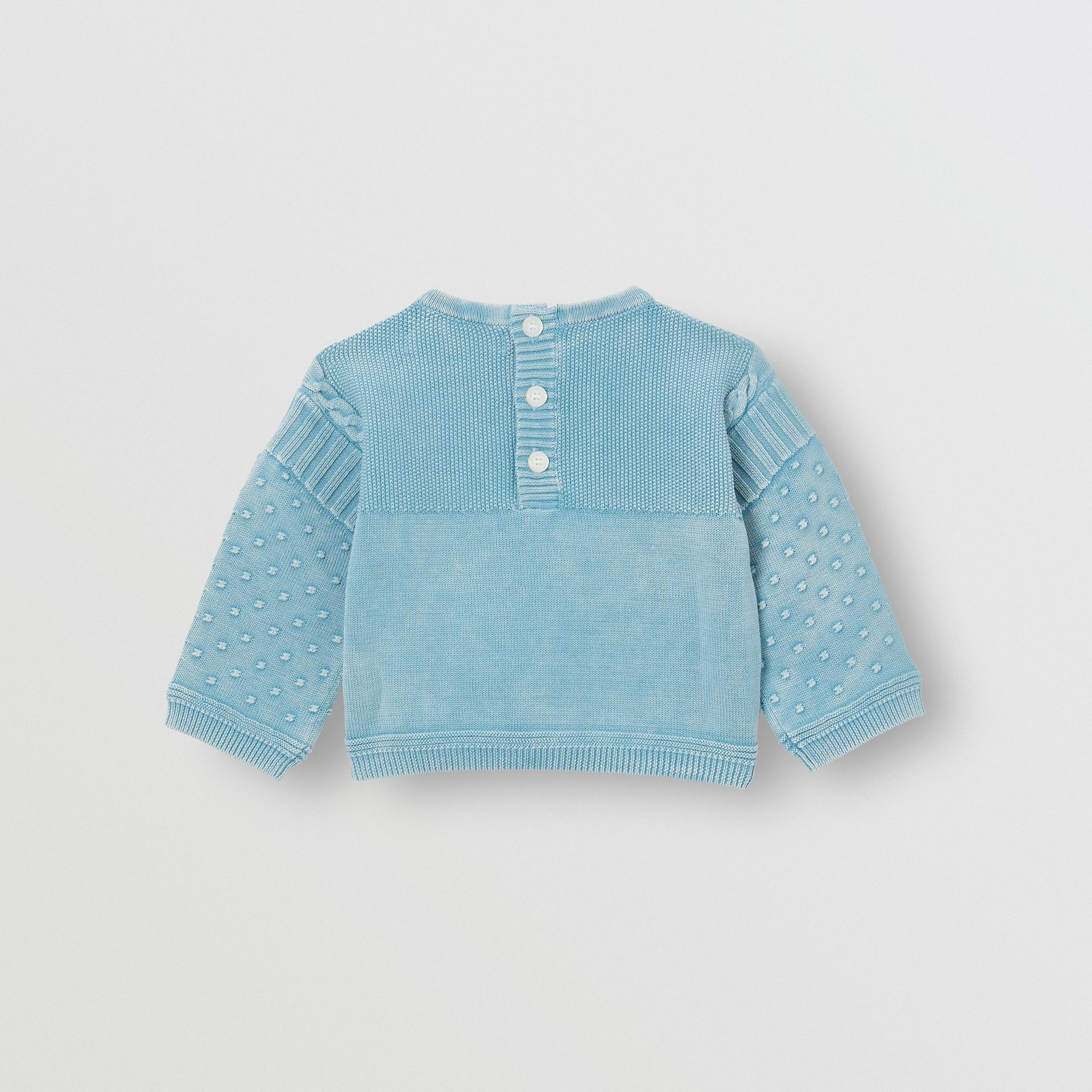 Contrast Knit Cotton Two-piece Baby Gift Set in Opal Blue - Children | Burberry - gallery image 4