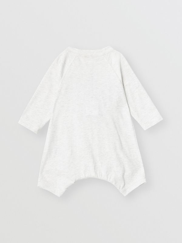 Logo Print Cotton Three-piece Baby Gift Set in White Melange - Children | Burberry - cell image 3