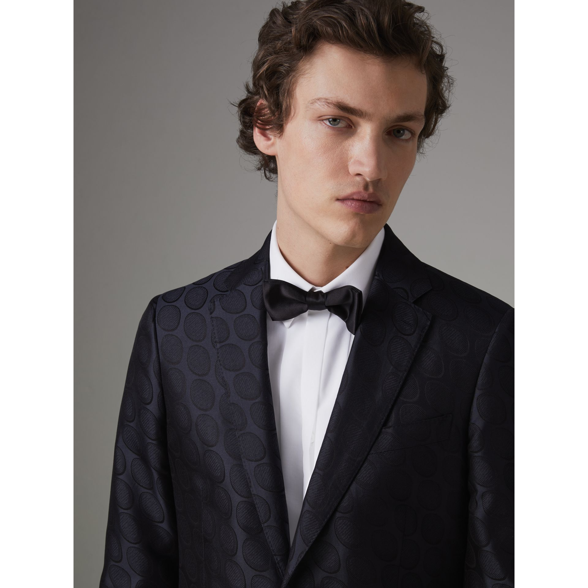Soho Fit Spot Silk Evening Jacket in Midnight Blue - Men | Burberry Australia - gallery image 1