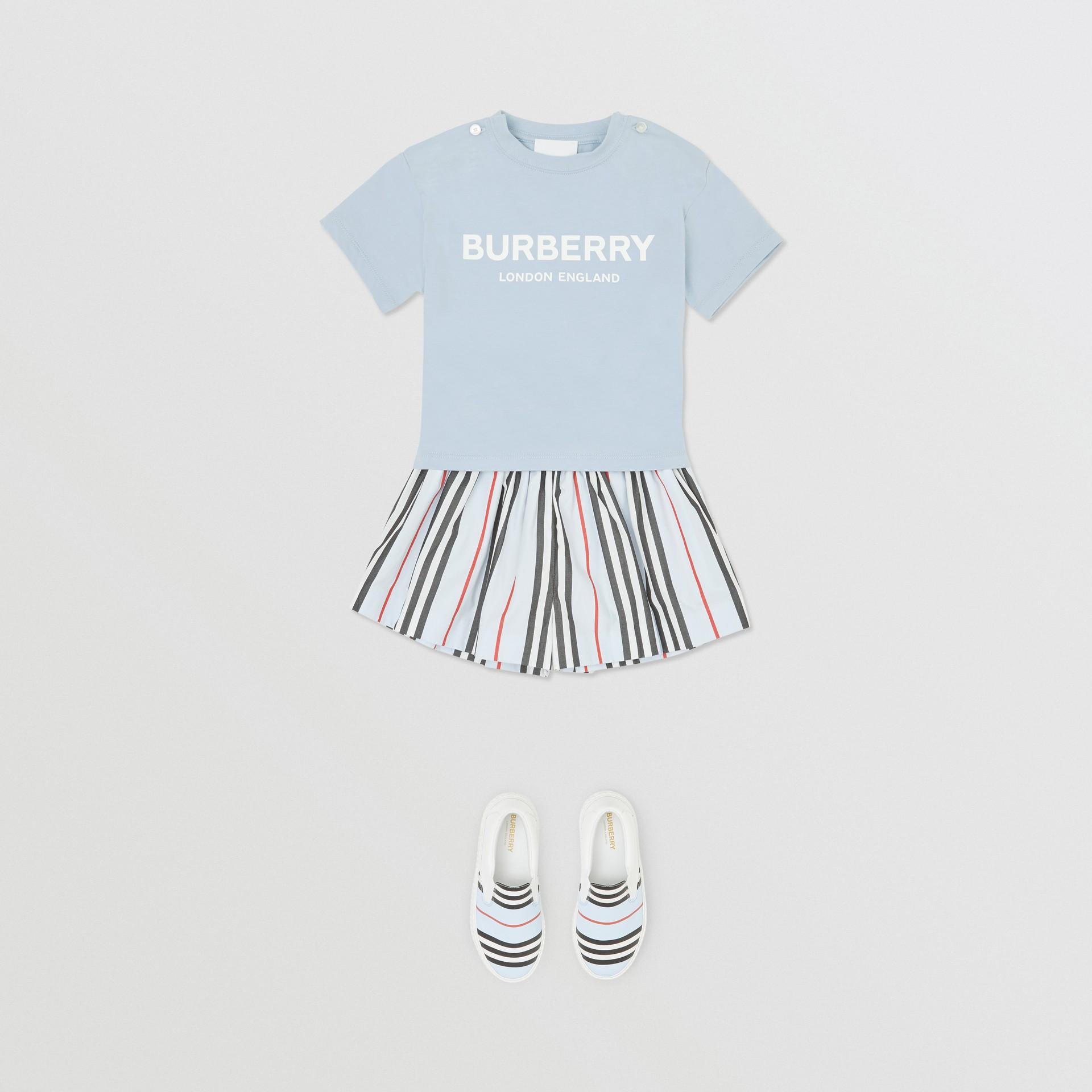 Logo Print Cotton T-shirt in Light Blue - Children | Burberry Canada - gallery image 2