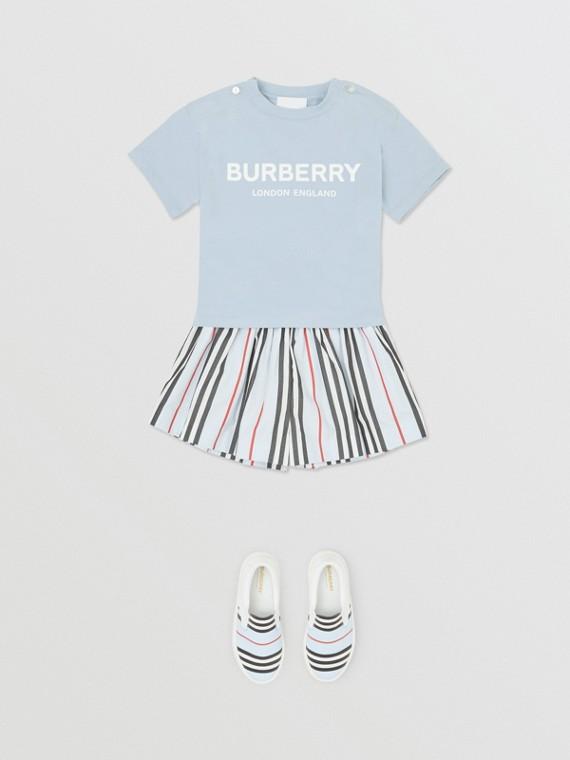 Logo Print Cotton T-shirt in Light Blue