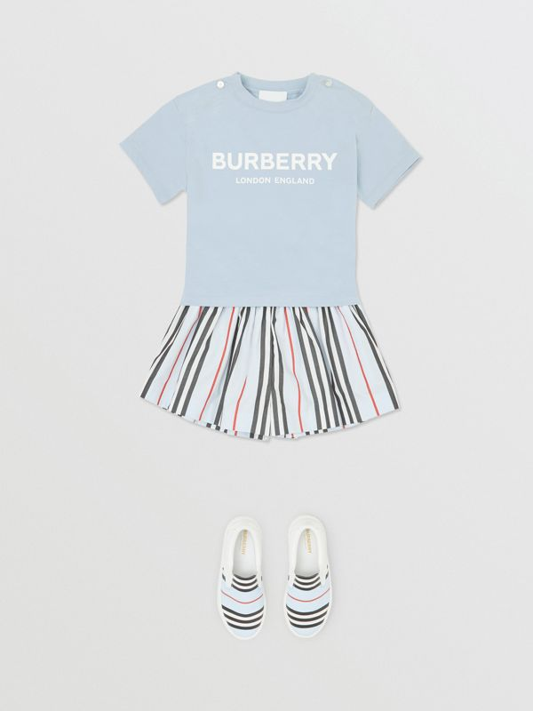 Logo Print Cotton T-shirt in Light Blue - Children | Burberry Canada - cell image 2
