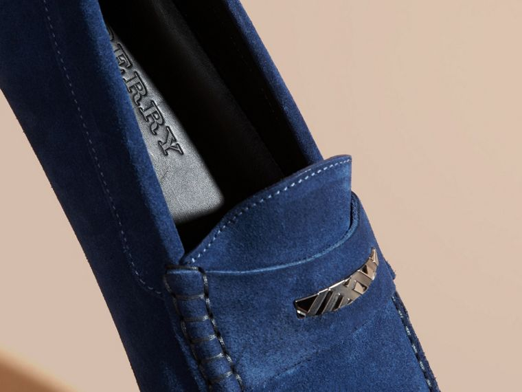 Suede Loafers with Engraved Check Detail in Dragonfly Blue - cell image 1