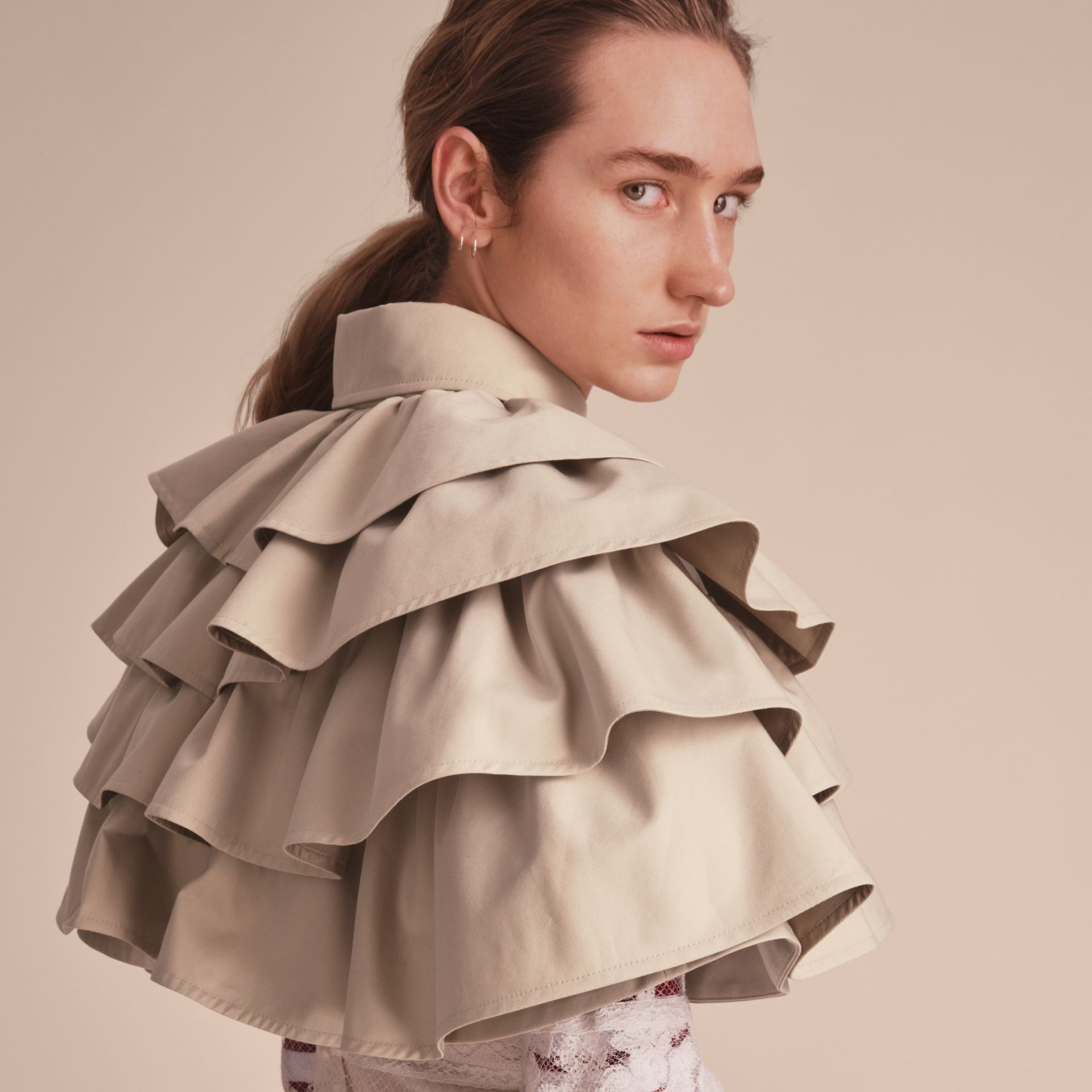 Cotton Gabardine Gathered Capelet in Stone - Women | Burberry - gallery image 5