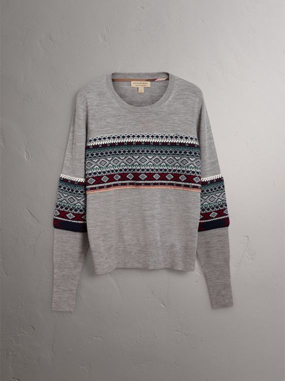 Fair Isle Detail Merino Wool Sweater in Mid Grey Melange - Women | Burberry United Kingdom - cell image 3