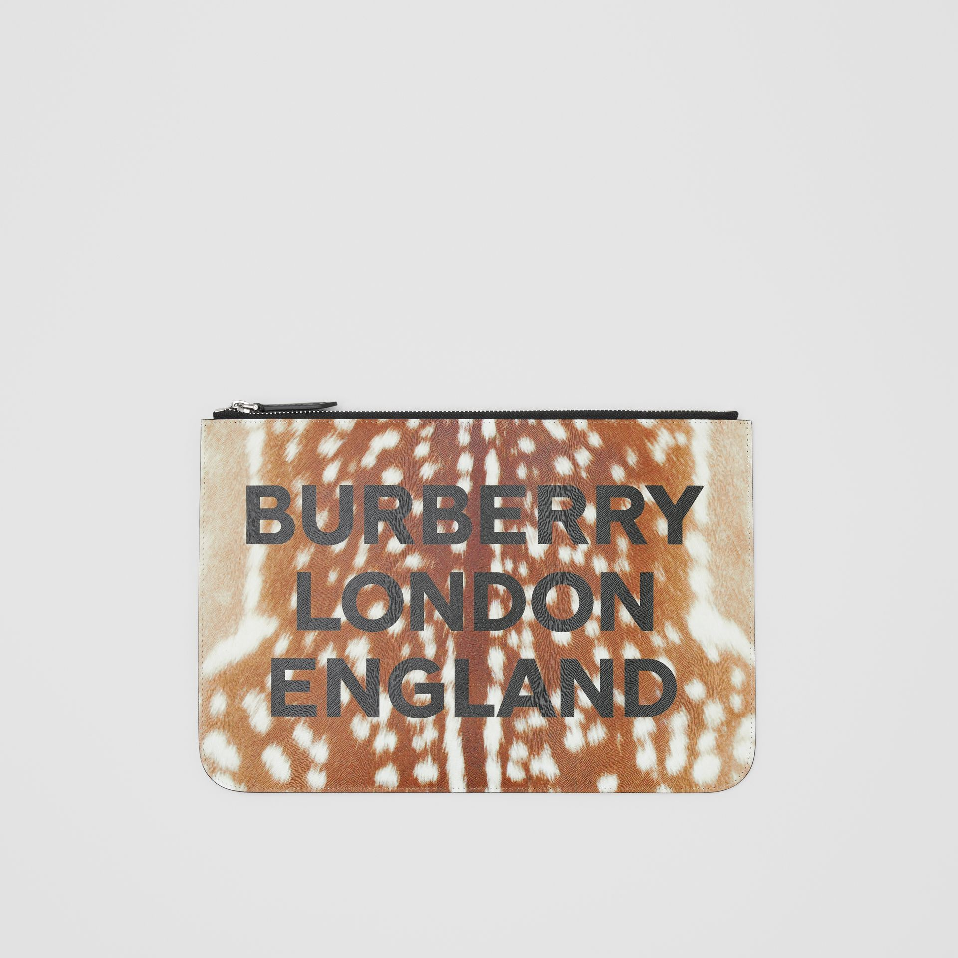 Deer Print Leather Zip Pouch in Tan | Burberry - gallery image 3