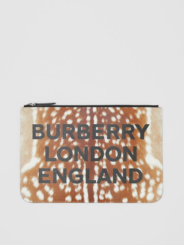 Deer Print Leather Zip Pouch in Tan | Burberry - cell image 3