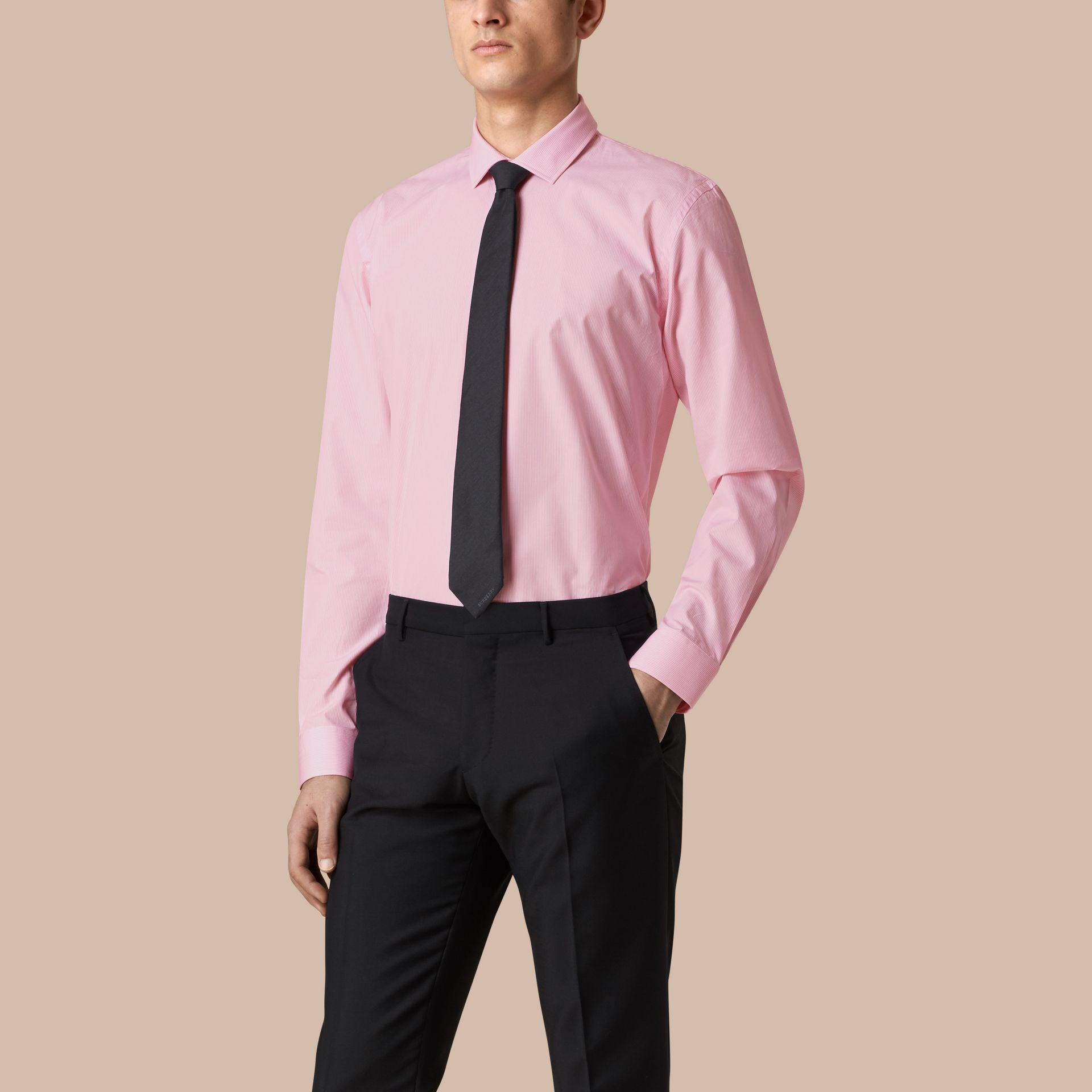 Modern Fit Striped Cotton Poplin Shirt in City Pink - Men | Burberry - gallery image 1
