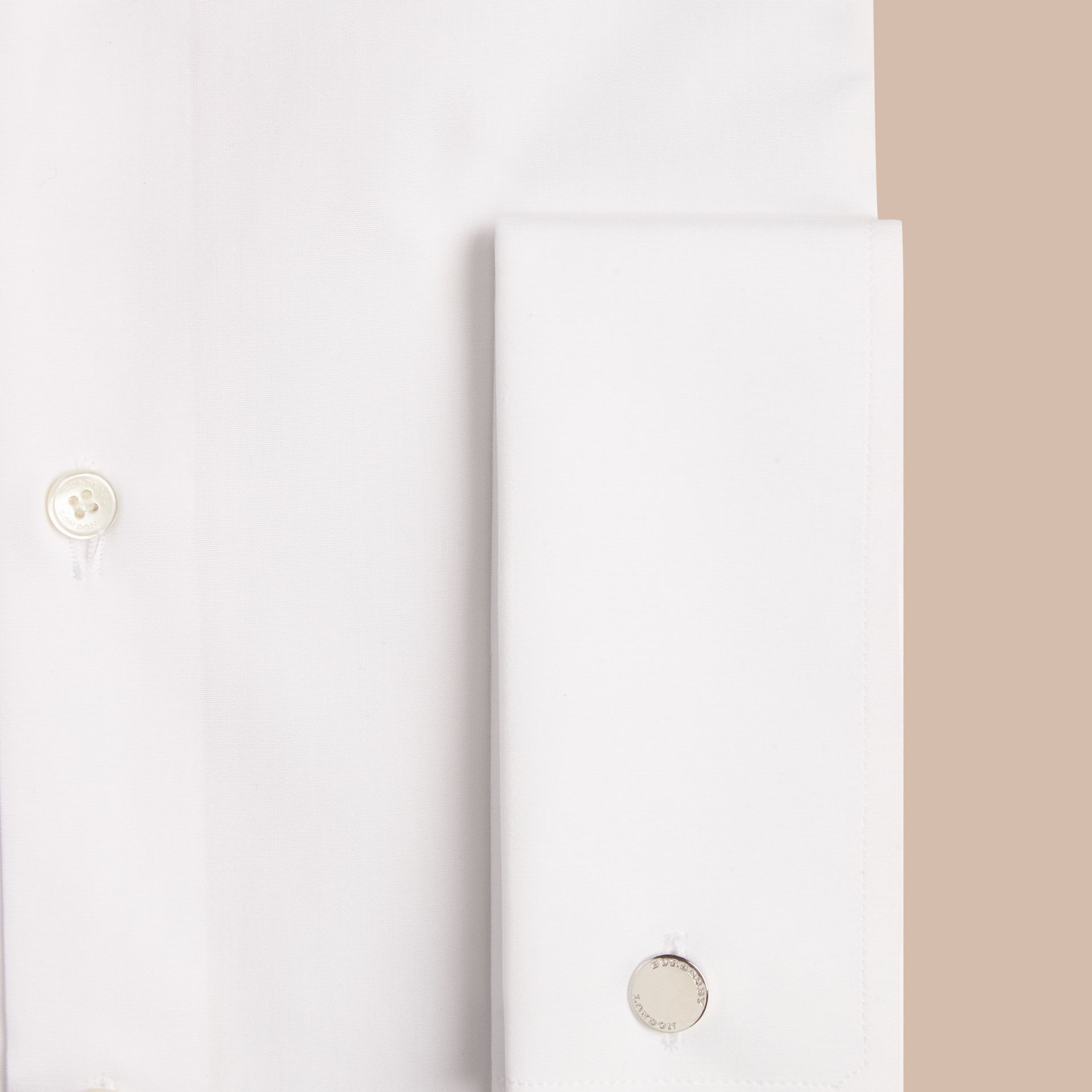 White Modern Fit Double-cuff Cotton Poplin Shirt - gallery image 2