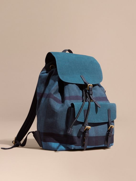 Overdyed Canvas Check Backpack Ultramarine Blue