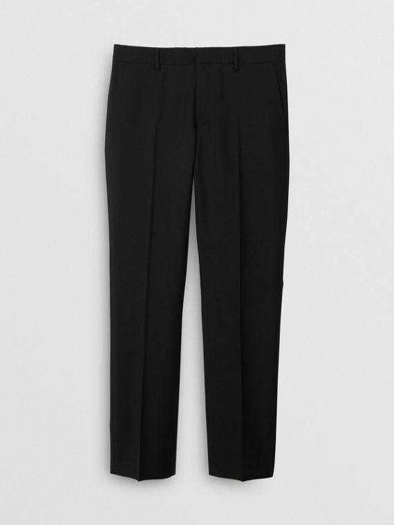 Classic Fit Wool Mohair Tailored Trousers in Black