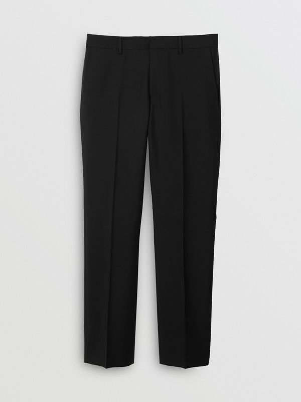 Classic Fit Wool Mohair Tailored Trousers in Black - Men | Burberry United Kingdom - cell image 3